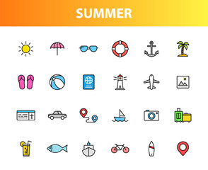 Wall Mural - Set of 24 Summer and Holiday web icons in line style. Web and mobile icon. tourism, travel, holiday. Vector illustration.