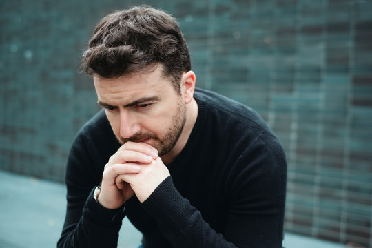 Desperate man lost in depression suffering emotional pain