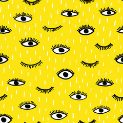 Vector eye seamless pattern. Repeating hand drawn open eyes and wink eyelash on yellow background.