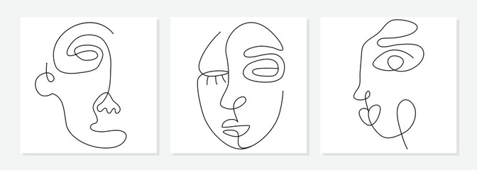 One line drawing abstract face. Modern single line art man and woman portrait, minimalist contour. Great for home decor such as posters, wall art, tote bag, t-shirt print, sticker, mobile case. Vector Fototapete