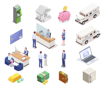 Banking Isometric Icon Set