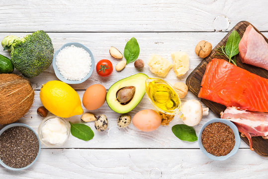 Ketogenic diet food. Healthy low carbs products. Keto diet concept. Vegetables, fish, meat, nuts, seeds, oil, cheese