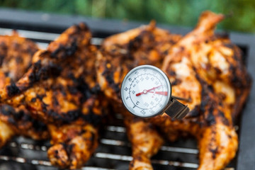 Thermometer spoked into side of chicken to check temperature before serving.