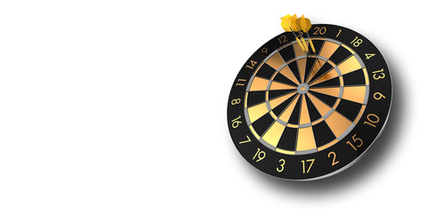 festive black and glossy golden dart board on white background inlcuding alpha channel - 3D rendering