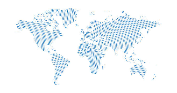Black halftone circled dotted blue world map. Vector illustration. Dotted map in flat design. Vector illustration isolated on white background