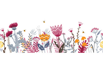 Wall Mural - Vector nature seamless background with hand drawn wild herbs, flowers and leaves on white. Doodle style floral illustration.