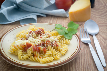 Rotini Pasta. With tomato and cheese