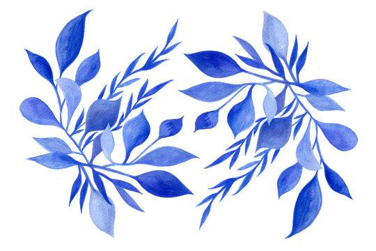 Ornement végétal bleu