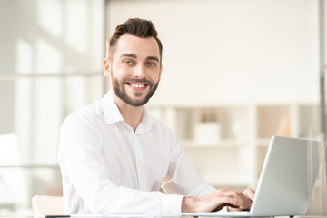 Businessman by workplace