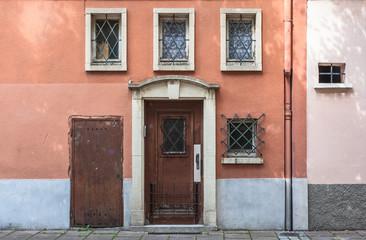 Wooden ancient door in historic center of Strasbourg, France
