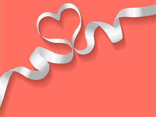 Ribbon white on a Coral color background