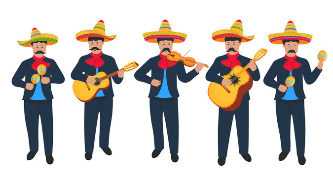 Mariachi. Mexican street musicians in national costumes with a guitar, viola and maracas. Cinco de Mayo. 5th of May.