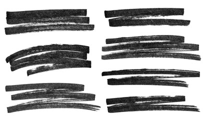 Set of simple black marker strokes isolated on white background.