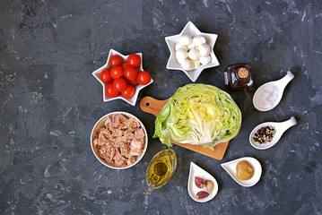 Ingredients for cooking tuna salad: fresh iceberg lettuce, cherry tomatoes, mozzarella cheese, canned tuna, olive oil, mustard, red wine vinegar, garlic, salt, pepper.Top view. Healthy food