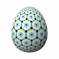 Artfully designed and colorful easter egg, ornate geometric and abstract colored pattern on white background