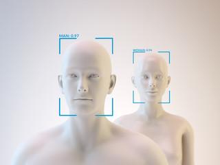 Facial recognition - 3D illustration