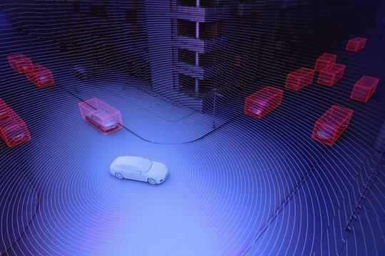 Autonomous driving concept illustration - 3d rendering