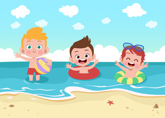 kids play at the beach vector illustration