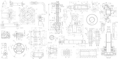 A set of engineering mechanical parts .Vector engineering illustration.Technical drawing background . Wall mural
