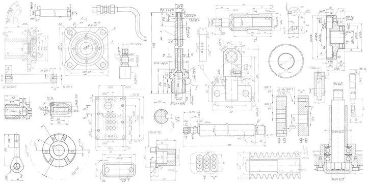 A set of engineering mechanical parts .Vector engineering illustration.Technical drawing background .