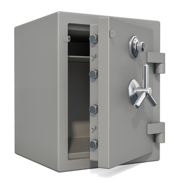 Opened safe box with combination lock closeup, 3D rendering