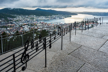 Musical Notes Fence at Mount Floyen with a spectacular panoramic view of Bergen, Norway