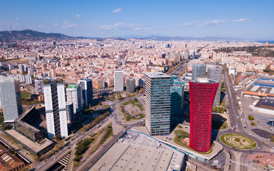 Self adhesive Wall Murals Barcelona Aerial view of Gran Via and Placa d Europa, Barcelona