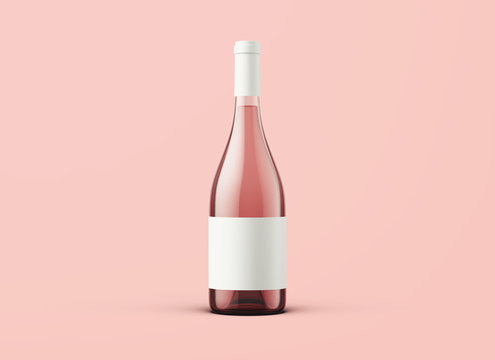 Wine bottle on background. Product packaging brand design. Mock up drink with place for you lable and text.