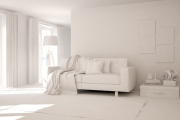 Stylish room with sofa in white color. Scandinavian interior design. 3D illustration