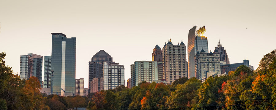 A view of the midtown Atlanta skyline from the nostalgic Piedmont Park.