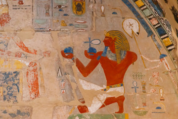 Ancient egyptian painting at the Mortuary Temple of Hatshepsut in Luxor, Egypt