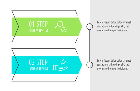 Modern vector flat illustration. Infographic arrows template with two elements, shapes, icons. Timeline designed for business, presentations, web design, interface, education, diagrams with 2 steps
