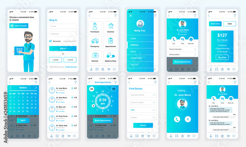 Set of UI, UX, GUI screens Medicine app flat design template