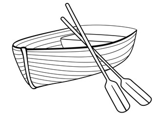 Boat with oars. Rowing boat for romantic walks on the lake or the sea. Lifeboat made of wood. Boat - linear picture for coloring. Outline vector.