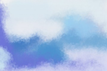 Artistic picturesque illustration of a cloudy blue sky. Textural artistic background. Drawing paints.