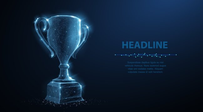 Trophy cup. Abstract vector 3d trophy isolated on blue background. Champions award, sport victory, winner prize concept
