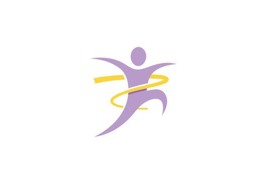 Creative Person Jump Logo Vector