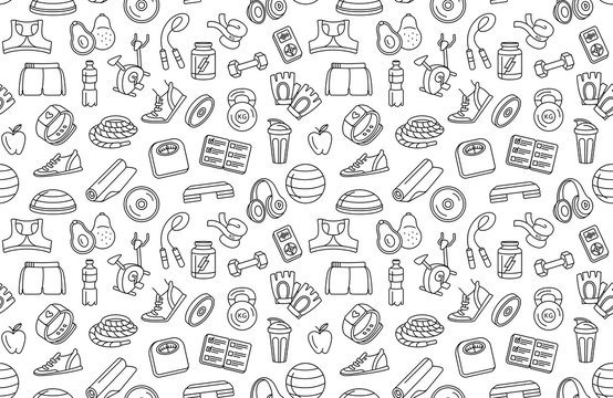 Sport, fitness, functional training background seamless doodle icons style pattern.