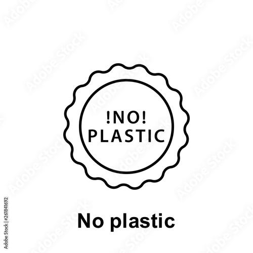 No plastic icon  Element of pollution problems icon  Thin line icon