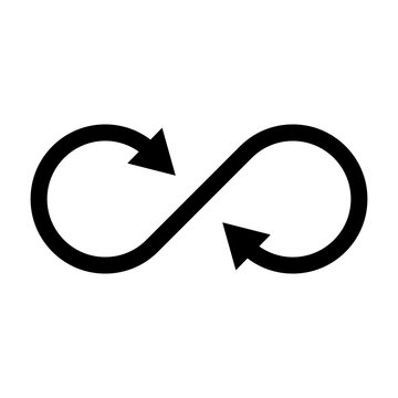 Infinity symbol icon with both side arrows. Concept of infinite, limitless and endless. Simple flat black vector design element