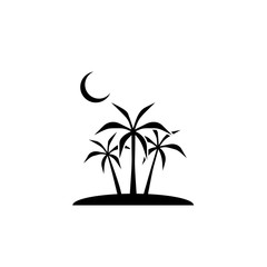 moon, palm icon. Element of ramadan icon. Premium quality graphic design icon. Signs and symbols collection icon for websites, web design