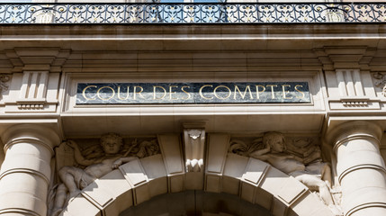 Court of Audit (Cour des comptes) at Rue Cambon in Paris, France. It is a French administrative court charged with conducting financial audits of most public institution