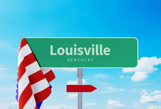 Louisville - Kentucky Road or Town Sign. Flag of the united states. Blue Sky. Red arrow shows the direction in the city