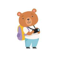 Cheerful tourist bear taking pictures with camera, cute animal cartoon character travelling on summer vacation vector Illustration on a white background