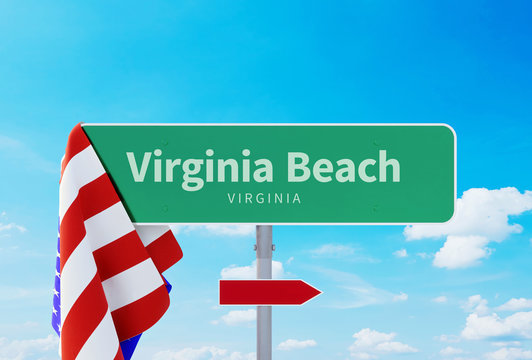 Virginia Beach - Road or Town Sign. Flag of the united states. Blue Sky. Red arrow shows the direction in the city