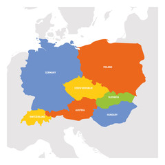 Fototapete - Central Europe Region. Map of countries in central part of Europe. Vector illustration