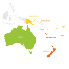 Fototapete - Australia and Oceania Region. Map of countries in South Pacific Ocean. Vector illustration