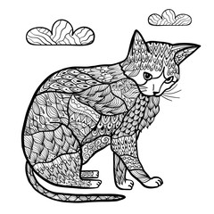 Coloring page with a cat in zentangle style. Trendy zenart animal background. Vector illustration
