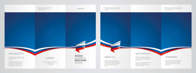 Wavy flag and ribbon of Russia three fold brochure modern design blue abstract background
