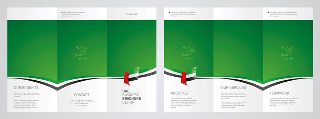Wavy flag and ribbon of UAE three fold brochure modern design green abstract background